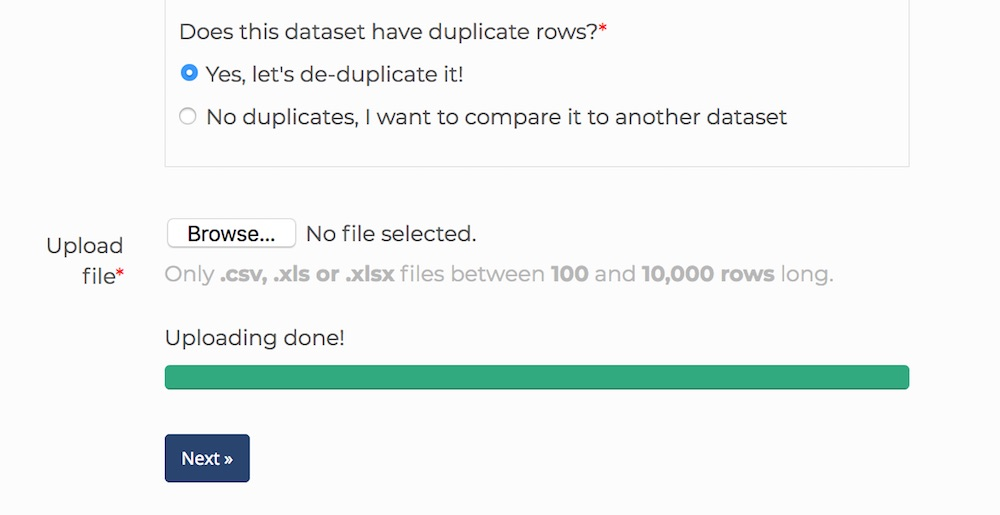 The 'Upload data' page on Dedupe.io
