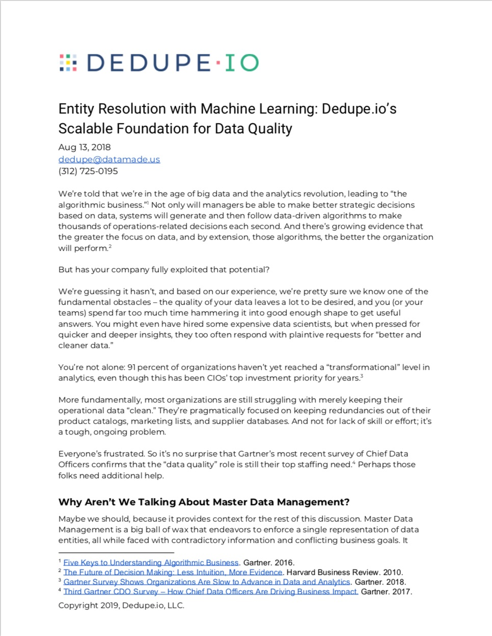 Entity Resolution with Machine Learning: Dedupe.io's Scalable Foundation for Data Quality